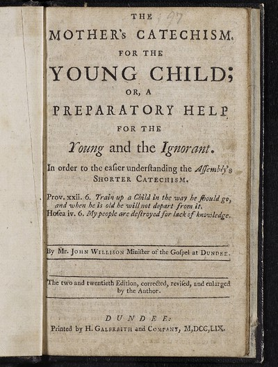 Mother's catechism for the young child; or, a preparatory help for the young and the ignorant