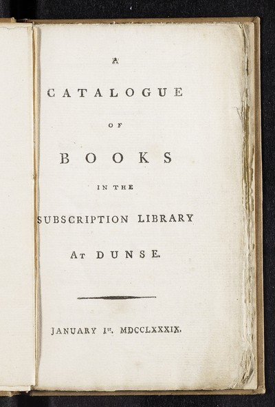 Catalogue of books in the subscription library at Dunse