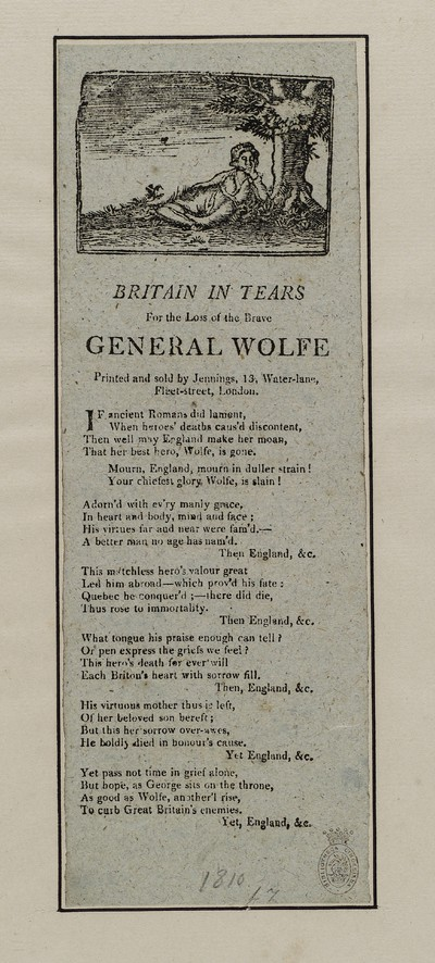 Britain in tears for the loss of the brave General Wolfe