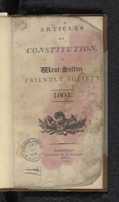 Articles of constitution, of West-Salton Friendly Society