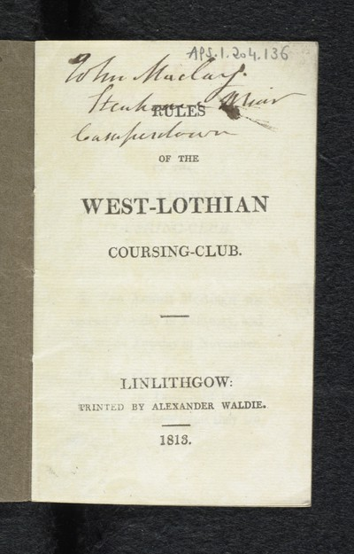 Rules of the West-Lothian coursing-club