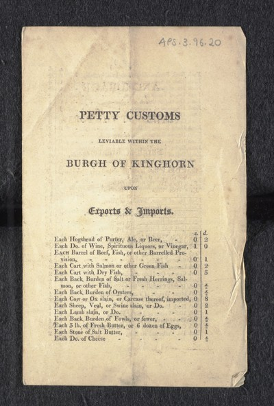 Petty customs leviable within the Burgh of Kinghorn upon exports & imports