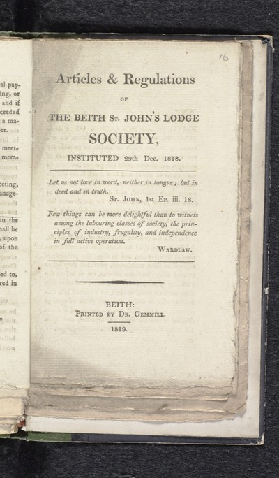 Articles & regulations of the Beith St. John's Lodge Society