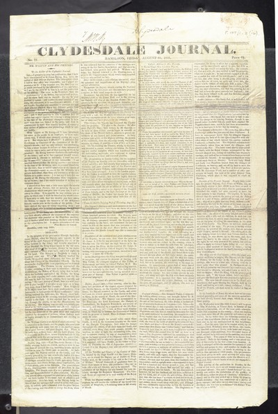 1801-1830; Clydesdale Journal; No. 71, 31 August 1821