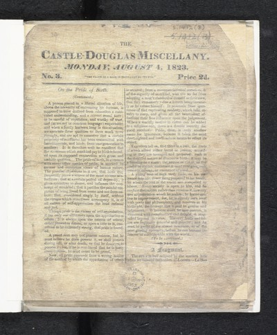 1801-1830; Castle-Douglas miscellany; Number 3, 4 August, 1823