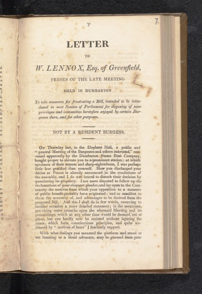 Letter to W. Lennox, Esq. of Greenfield