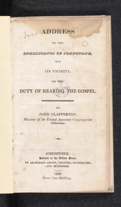 Address to the inhabitants of Johnstone, and its vicinity
