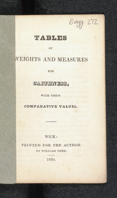 Tables of weights and measures for Caithness