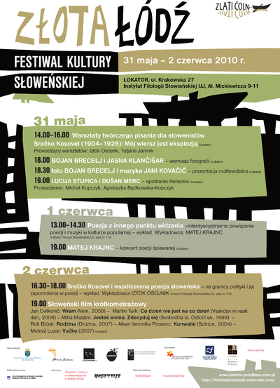 The Golden Boat Festival of Slovenian Culture 2010 - poster - Literary Association IA