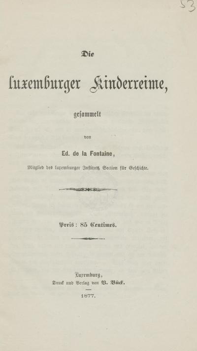Die Luxemburger Kinderreime