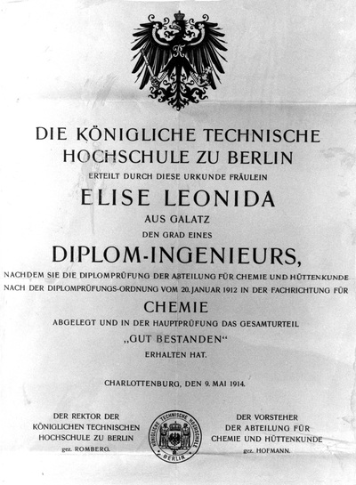 The engineering diploma awarded to Miss Elisa Leonida Zamfirescu by 			the Royal Academy of Technology Berlin, Charlottenburg