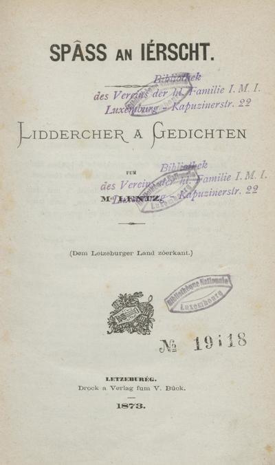 Spâss an Iérscht : Liddercher a Gedichten