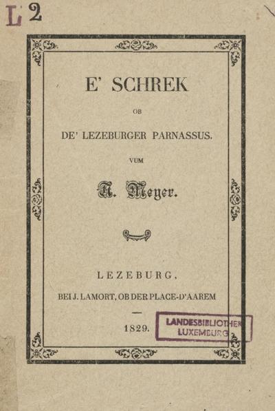 E' Schrek ob de' Lezeburger Parnassus