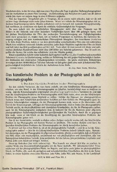 Das künstlerische Problem in der Photographie und in der Kinematographie.