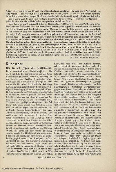 Der Kampf gegen die deutschfeindliche ausländische Kinoindustrie.