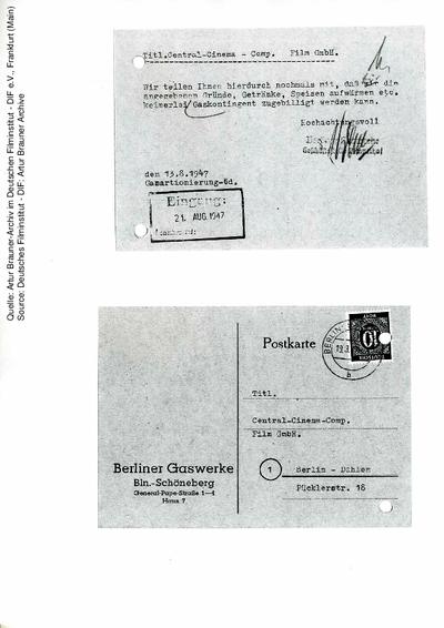 Postkarte von den Berliner Gaswerken an CCC, 13.08.1947.