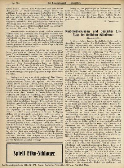 Kinotheaterwesen und deutscher Einfluss im östlichen Mittelmeer.