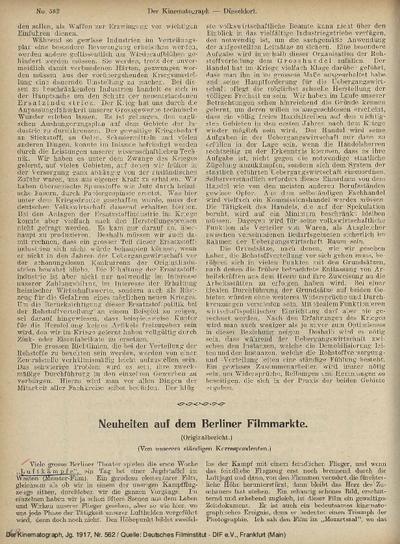 Neuheiten auf dem Berliner Filmmarkte.