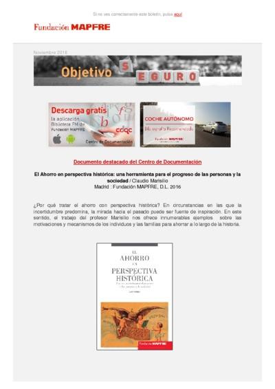 Objetivo Seguro : boletín del Centro de Documentación de Fundación MAPFRE - Noviembre 2016