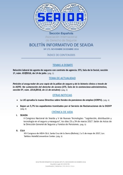 Boletín Informativo de SEAIDA ; nº 175, noviembre-diciembre 2016