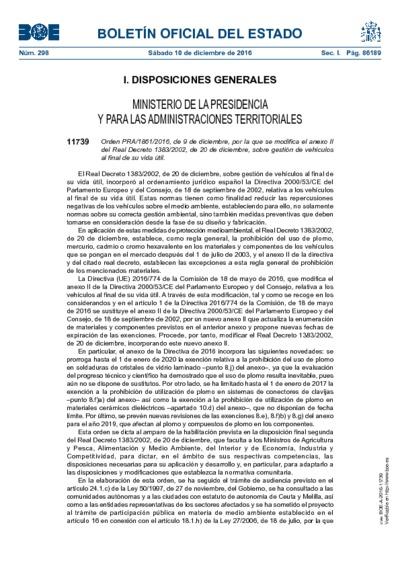 Orden PRA/1861/2016, de 9 de diciembre, por la que se modifica el anexo II del Real Decreto 1383/2002, de 20 de diciembre, sobre gestión de vehículos al final de su vida útil.