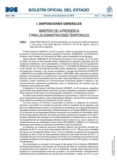 Orden PRA/1942/2016, de 22 de diciembre, por la que se modifica el apéndice C del anexo II del Real Decreto 1205/2011, de 26 de agosto, sobre la seguridad de los juguetes
