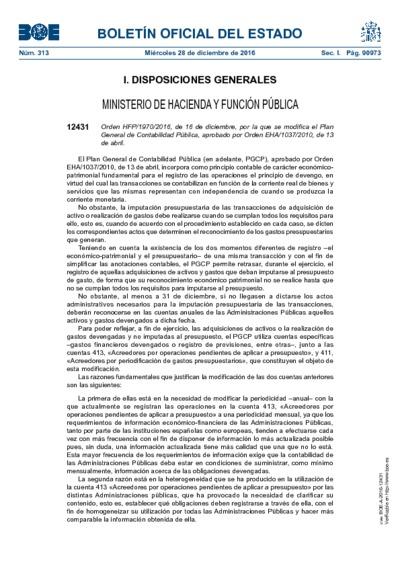 Orden HFP/1970/2016, de 16 de diciembre, por la que se modifica el Plan General de Contabilidad Pública, aprobado por Orden EHA/1037/2010, de 13 de abril.