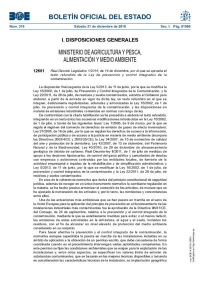 Real Decreto Legislativo 1/2016, de 16 de diciembre, por el que se aprueba el texto refundido de la Ley de prevención y control integrados de la contaminación