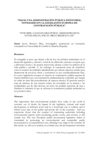 Hacia una administración pública sostenible : novedades en la legislación europea de contratación pública