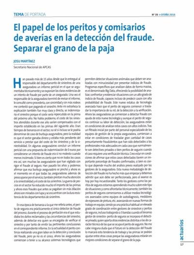 El Papel de los peritos y comisarios de averías en la detección del fraude : separar el grano de la paja