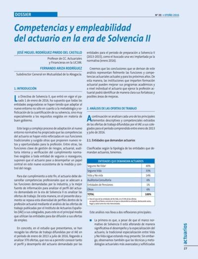 Competencias y empleabilidad del actuario en la era de Sovencia II : dossier