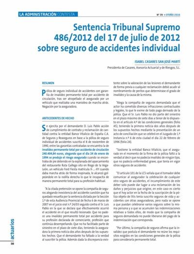 Sentencia Tribunal Supremo 486-2012 del 17 de julio de 2012 sobre seguro de accidentes individual