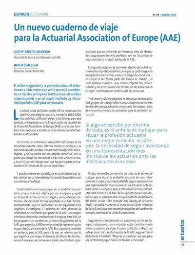 Un Nuevo cuaderno de viaje para la Actuarial Association of Europe (AAE)