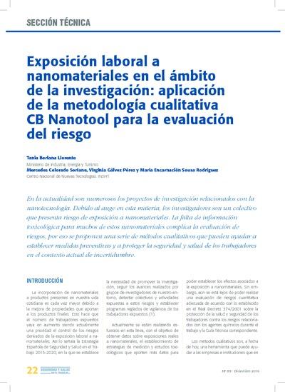 Exposición laboral a nanomateriales en el ámbito de la investigación: aplicación de la metodología cualitativa cb Nanotool para la evaluación del riesgo