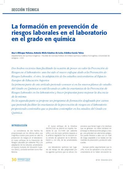 La Formación en prevención de riesgos laborales en el laboratorio en el grado en química