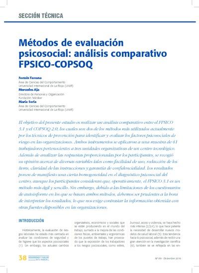 Métodos de evaluación psicosocial: análisis comparativo fpsico-copsoq