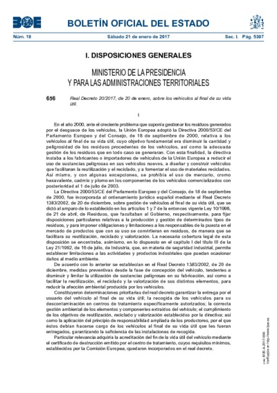 Real Decreto 20/2017, de 20 de enero, sobre los vehículos al final de su vida útil