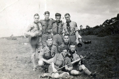 Gossagges Rover Scout Group on camp at Rothwell, Lancashire. On the back row standing are second from left Herbert Harding and third from left Danny Lamb. In the centre on the left is ? Carter, and at