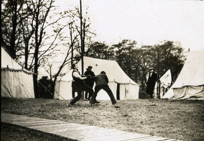Men from the Pals Battalions erecting tents in Heaton Park
