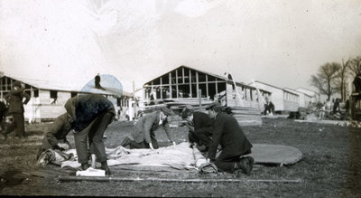 Men from the Pals Battalions erecting tent at Heaton Park