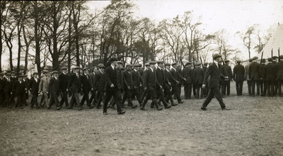 Men from the Pals Battalions at drill practice in Heaton Park