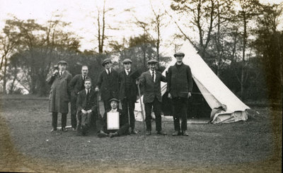 Group of men from the Pals Battalions outside tent in Heaton Park