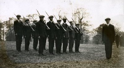Group of men from the Pals Battalions at drill practice in Heaton Park