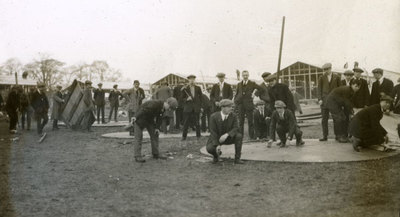 Group of men from the Pals Battalions erecting tents in Heaton Park