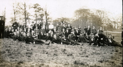 Group of men from the Pals Battalions in civilian clothes at leisure in Heaton Park