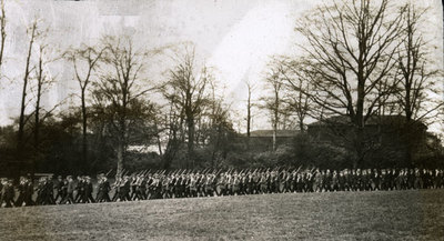 Large body of men from the Pals Battalions at drill practice or on parade in Heaton Park