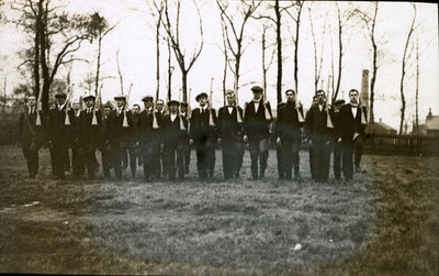 Group of men from the Pals Battalions at drill in Heaton Park
