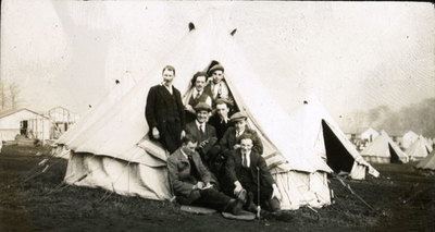 Group of men from the Pals Battalions in a tent in Heaton Park