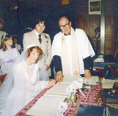 Wedding of Judith Thorpe, daughter of Arthur Thorpe, and Jim Crossland