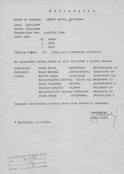 Prijavnica - obvestilo o ustanovitvi savskega odreda ZTS